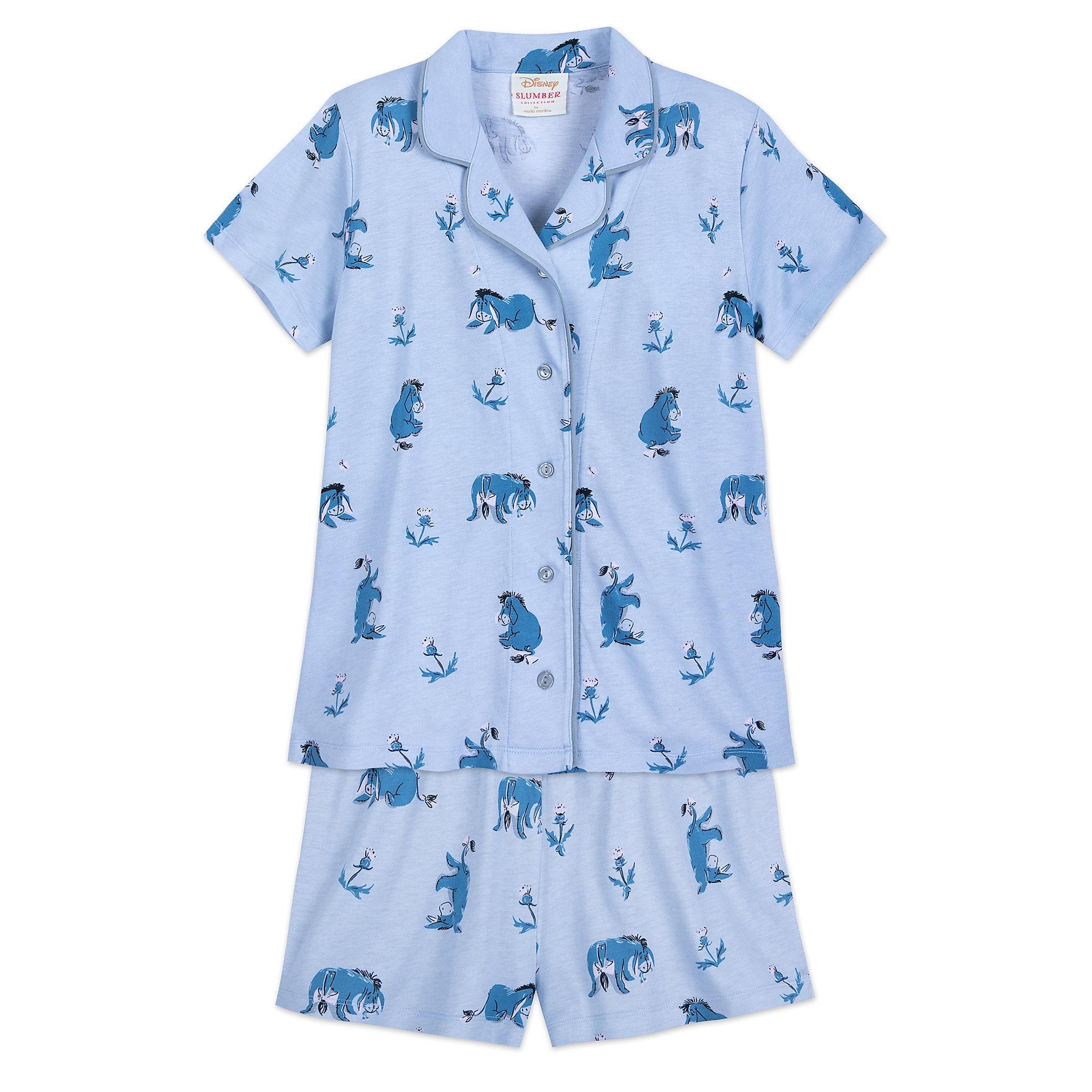 Disney Characters Short Sleeve Women/'s Coat Top Shorts Pajama Set