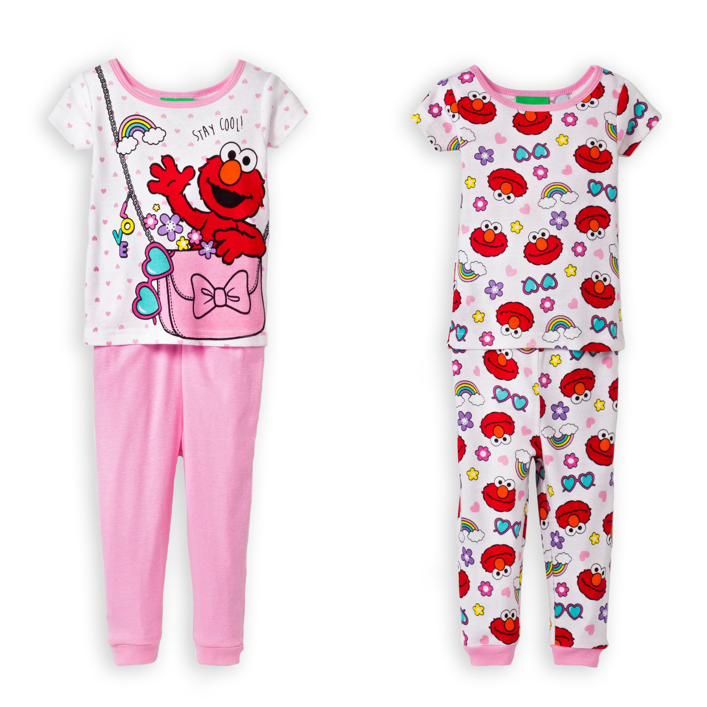4ddf565699 Sesame Street Elmo Pink Purse Girls Toddler 4-Piece Cotton Pajama ...